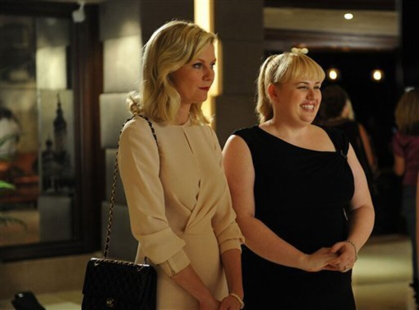 """This image released by Radius/The Weinstein Company shows Kirsten Dunst, left, and Rebel Wilson in a scene from """"Bachelorette."""" (AP Photo/Radius/The Weinstein Company)"""
