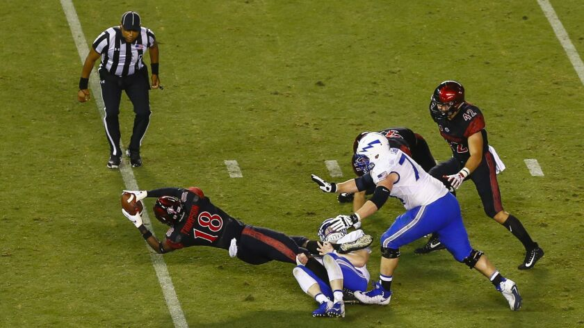 SDSU safety Trenton Thompson (18) scores a touchdown after a blocked punt by linebacker Kaelin Himphill (47) in the second quarter against Air Force.