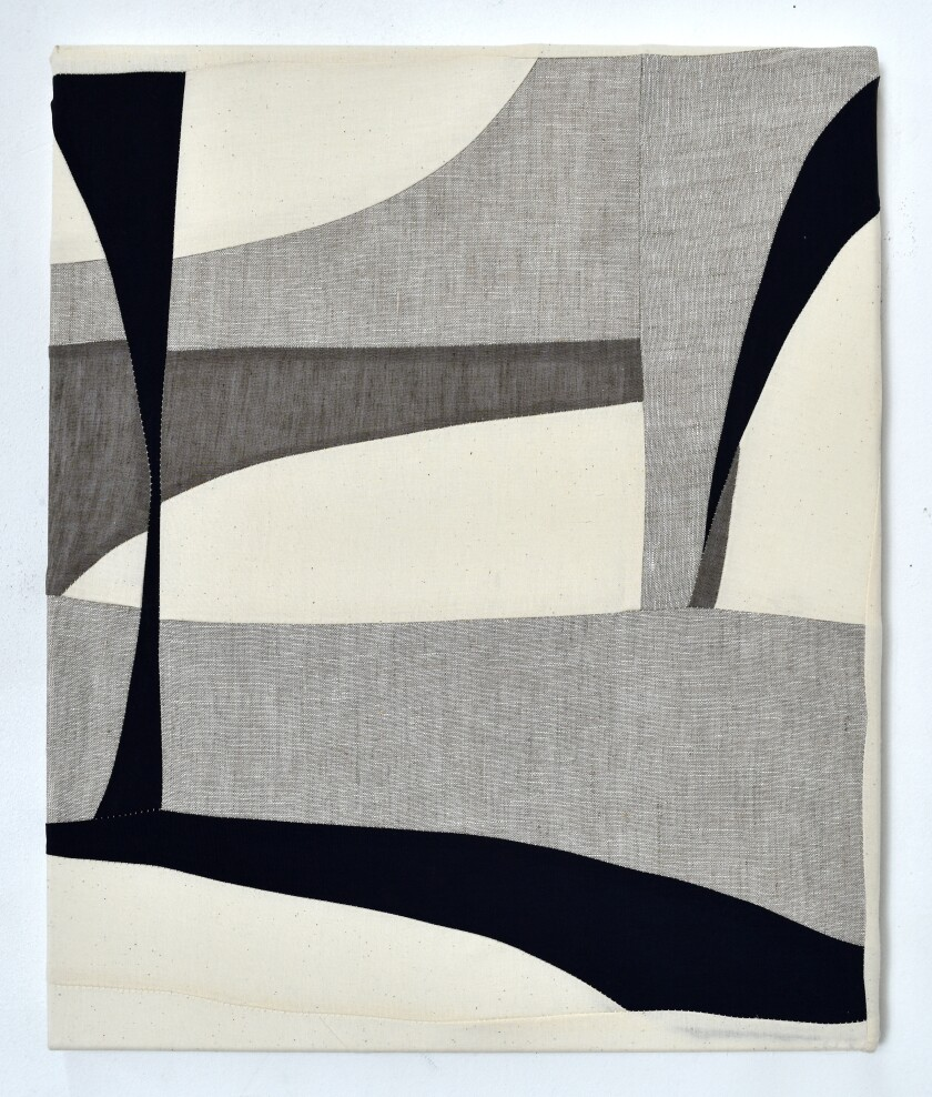 """String 2"" by Tanja Rector, 2020. Textiles, linen and archival gel medium, 20 inches by 18 inches."