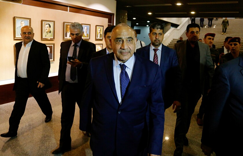 Iraqi Prime Minister Adel Abdul-Mahdi, pictured in 2018, appears to be standing by his previous statements that U.S troops should leave Iraq despite recent signals toward deescalation between Tehran and Washington.