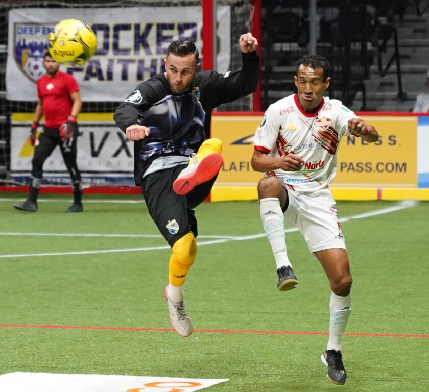 In his first season with the San Diego Sockers, midfielder Slavisa Ubiparipovic (left) leads the team in goals and scoring.