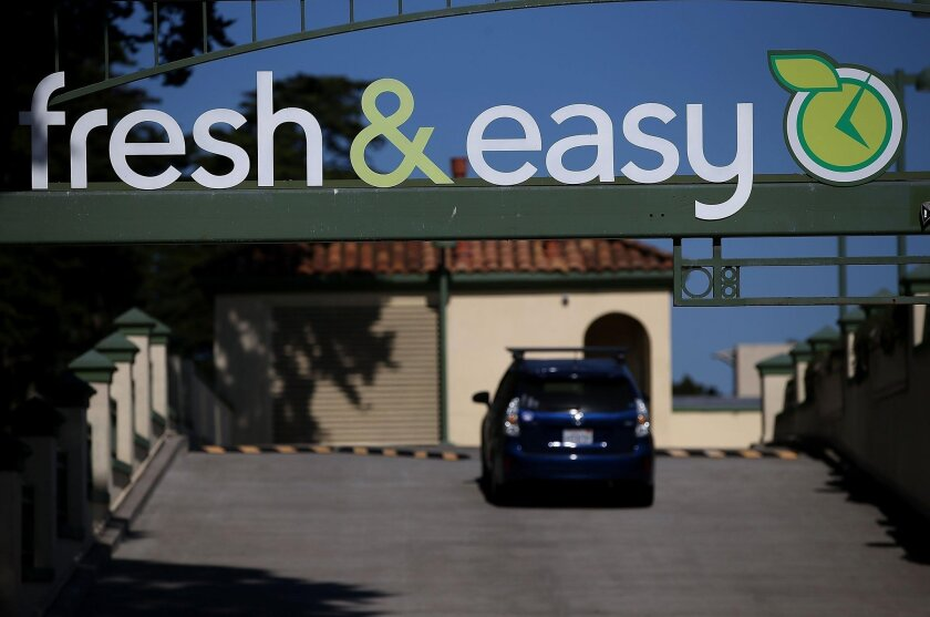 A Fresh & Easy sign is posted on the exterior of grocery store in San Francisco, California. Grocery chain Fresh & Easy announced in October that it will close its 97 stores in California, Arizona and Nevada and lay off 3,000 workers.