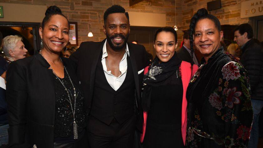 """Timolin Cole, Nat King Cole's daughter, from left; writer Colman Domingo; Brooklyn Sudano, Donna Summer's daughter; and Casey Cole, Cole's daughter, at the opening night party for the West Coast premiere of """"Lights Out: Nat 'King' Cole"""" at Geffen Playhouse on Wednesday."""