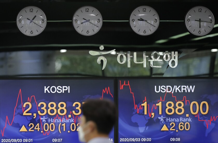 A currency trader walks near the screens showing the Korea Composite Stock Price Index (KOSPI), left, and the foreign exchange rate between U.S. dollar and South Korean won at the foreign exchange dealing room in Seoul, South Korea, Thursday, Sept. 3, 2020. Asian stock markets rose Thursday after Wall Street turned in its biggest daily gain since July despite uncertainty about the global outlook. (AP Photo/Lee Jin-man)