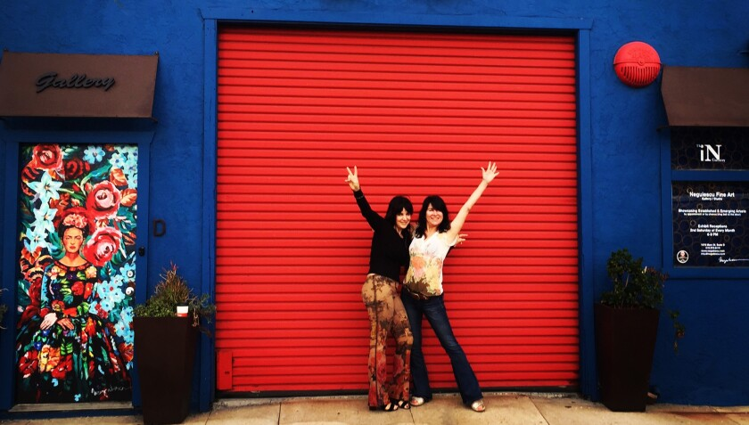 Concetta Antico (left) and Irina Negulescu in front of iN gallery in Barrio Logan.