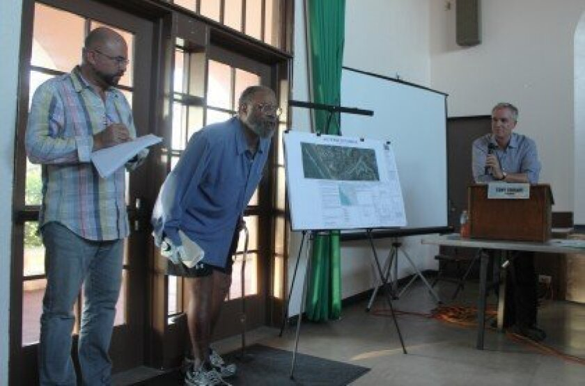 Dr. Nathaniel Rose (center) speaks in opposition to the proposed, five-bedroom Henely residence at 615 Wrelton Dr (near Tourmaline Surf Park). Pat Sherman Photos