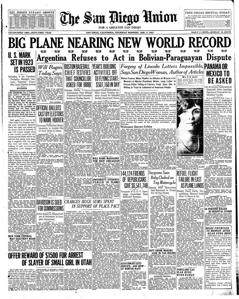 Jan. 3, 1929 San Diego Union front page.