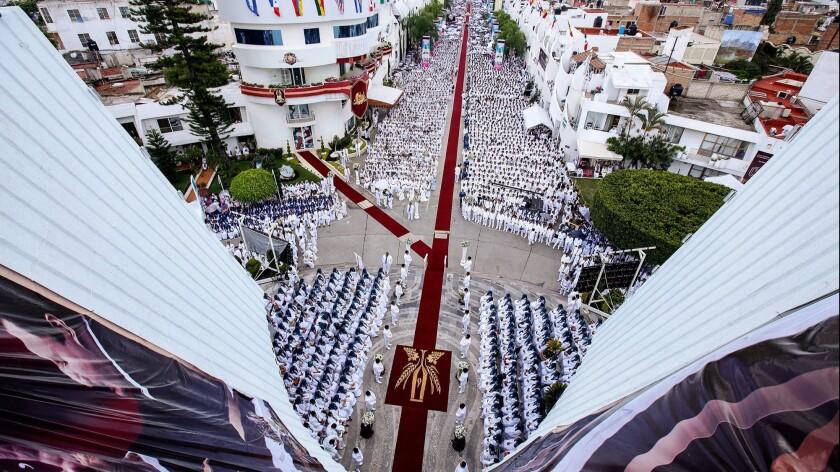 Parishioners take part in the annual Holy Convocation of La Luz del Mundo on Aug. 14, 2018, in Guadalajara, where the church's headquarters are located.