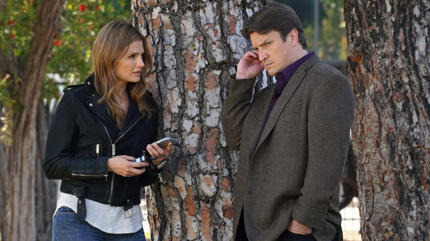 "Stana Katic, left, and Nathan Fillion star in ""Crossfire,"" the series finale of ABC's ""Castle."""