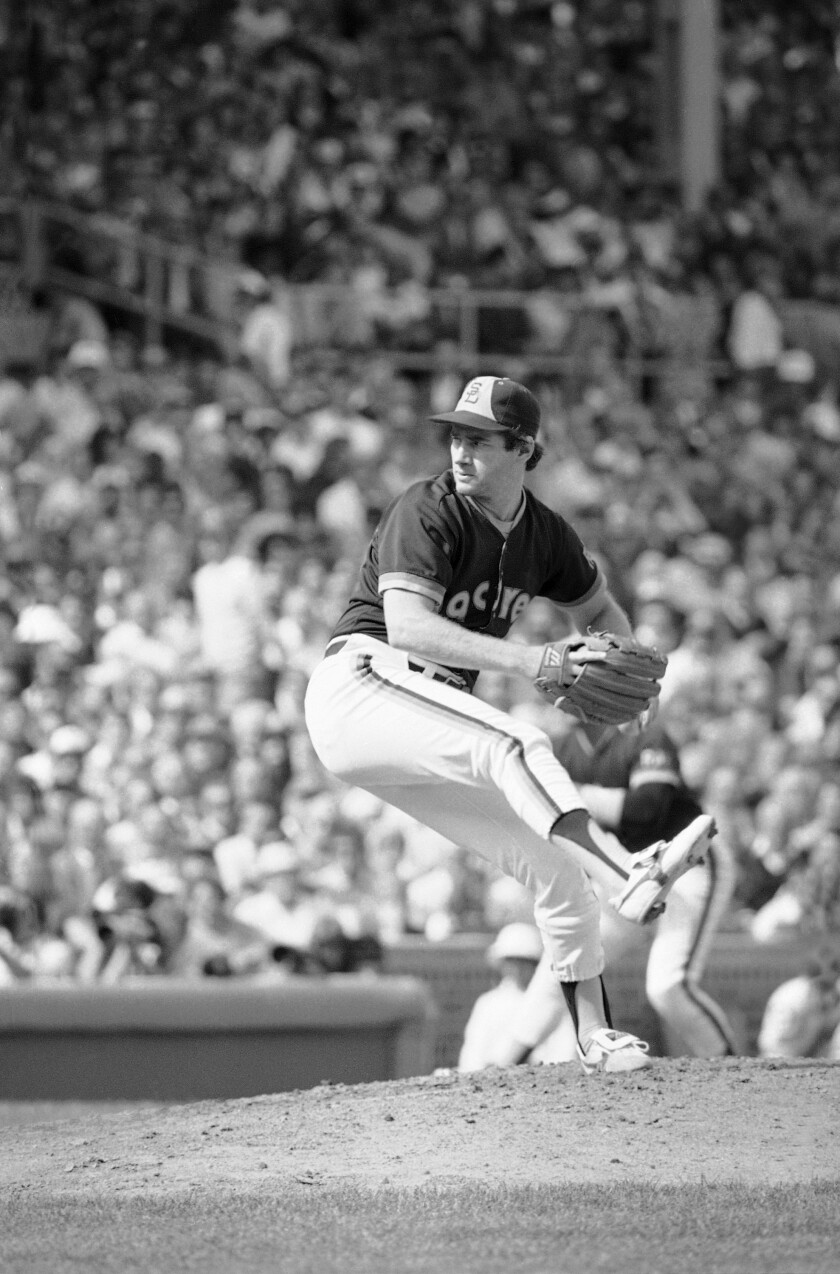 Padres left-hander Mark Thurmond pitches against the Chicago Cubs in Game 2 of NL Championship Series on Wednesday, Oct. 3, 1984 at Wrigley Field.