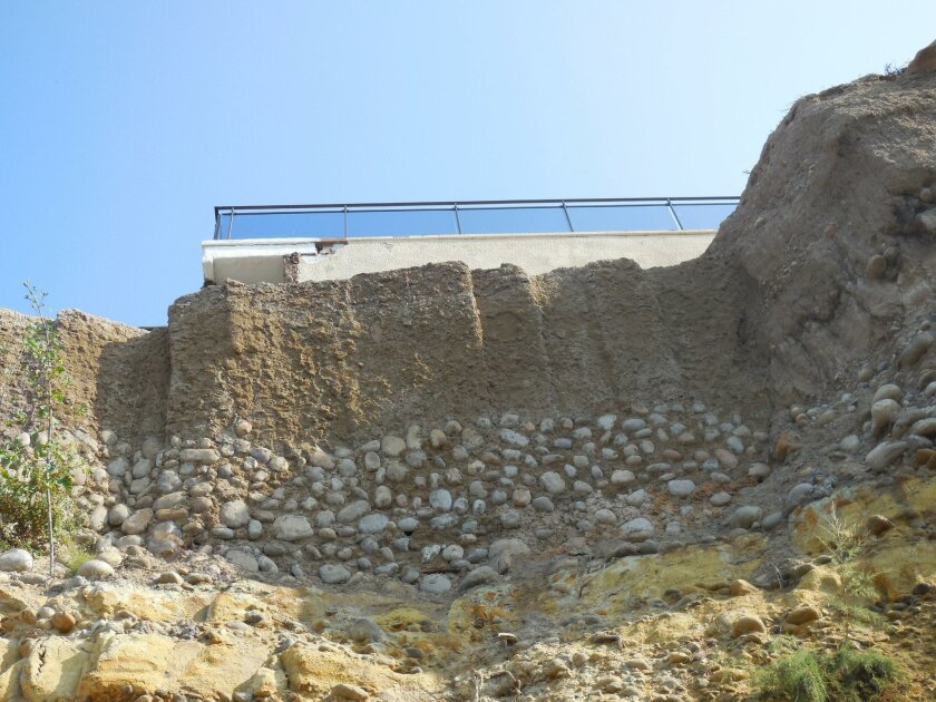 NOW: A photo of the unpermitted work done to remediate bluff collapse at 417 Sea Ridge.