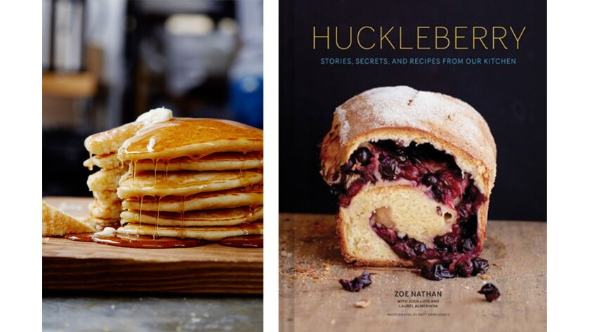 "A stack of ""My dad's pancakes"" are shown using the recipe from Zoe Nathan's easy-to-use baking book, ""Huckleberry."""