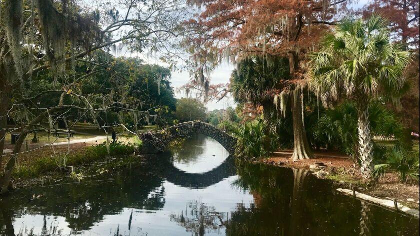 The Langles stone footbridge is one of three old stone bridges in New Orlean's City Park built aroun