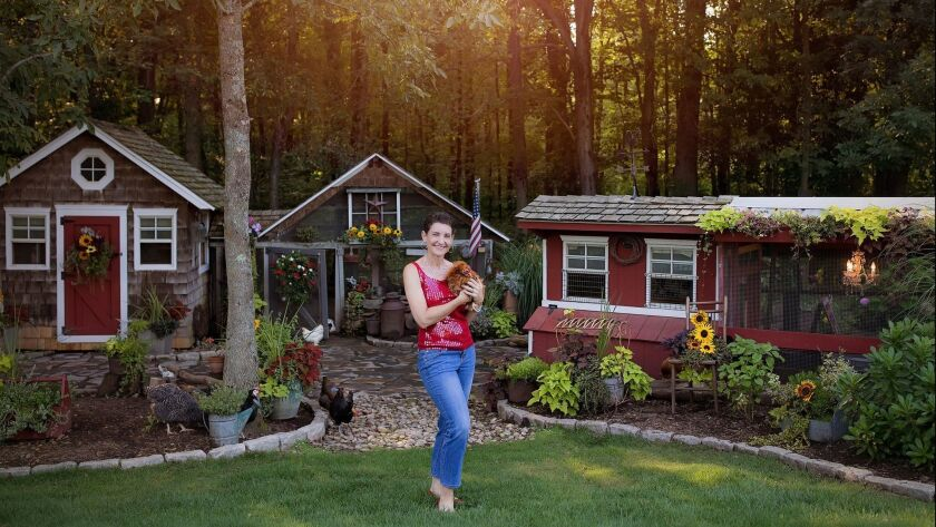 Kathy Shea Mormino, who is known to her fans as the Chicken Chick, at home in Connecticut. Her new b