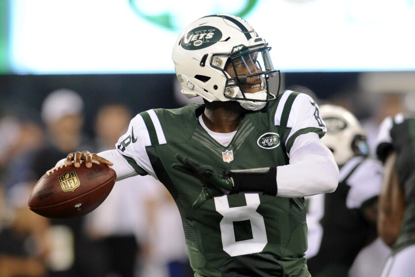 FILE - New York Jets quarterback Josh Johnson (8) throws a pass during the second half of a preseason NFL football game against the Philadelphia Eagles, in East Rutherford, N.J., in this Thursday, Sept. 3, 2015, file photo. The New York Jets signed well-traveled veteran quarterback Josh Johnson, giving them an experienced backup behind rookie Zach Wilson. Johnson was on the field for practice Wednesday, Aug. 4, 2021. (AP Photo/Bill Kostroun)