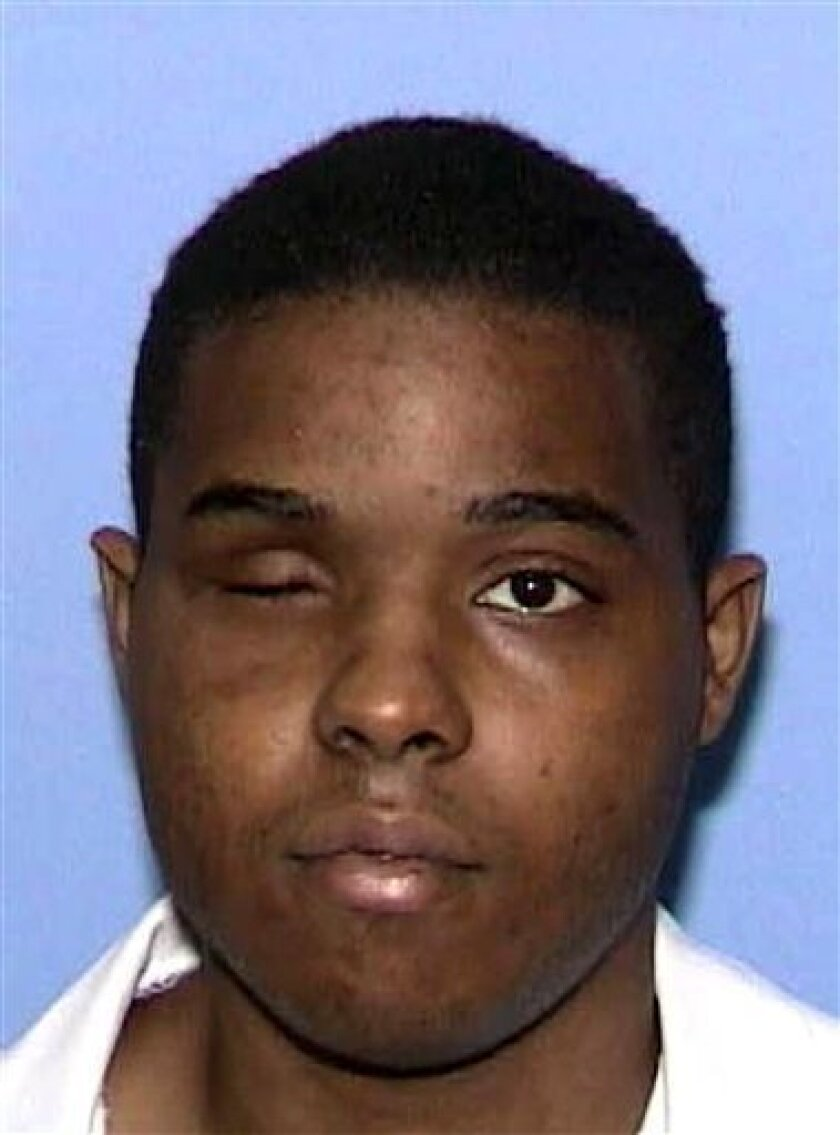 Texas death row inmate Andre Thomas is shown in this undated handout file photo released Friday, Jan. 9, 2009 in Huntsville, Texas. Thomas, who has a history of mental problems is being treated at a prison psychiatric unit after authorities said he pulled out his only good eye and ate it.  He simi