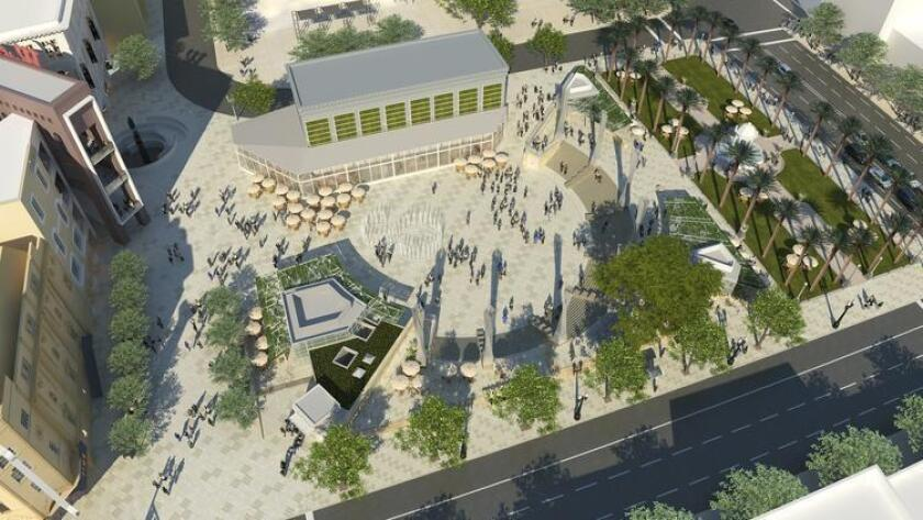 Aerial rendering of Horton Plaza Park, which will open May 4. (Courtesy photo)