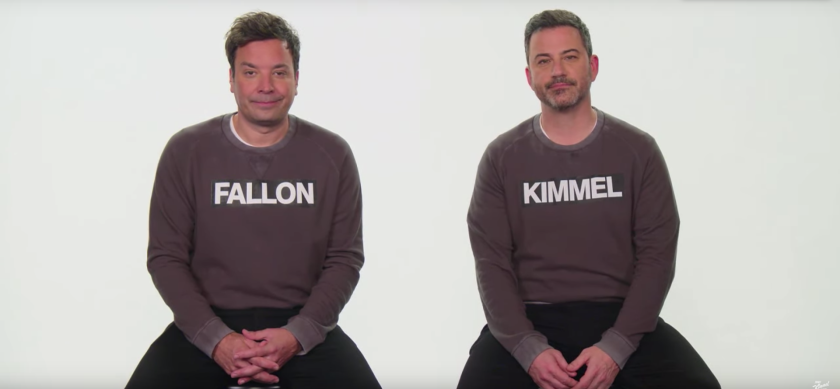 Late-night TV hosts Jimmy Fallon, left, and Jimmy Kimmel want to help you tell them apart.