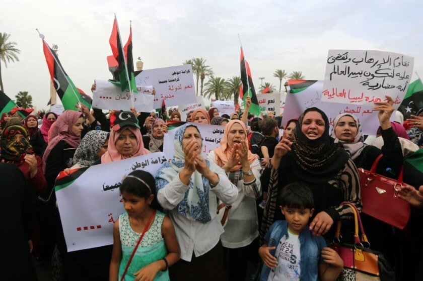 Libyan women are seen protesting in Tripoli, Libya, last month.