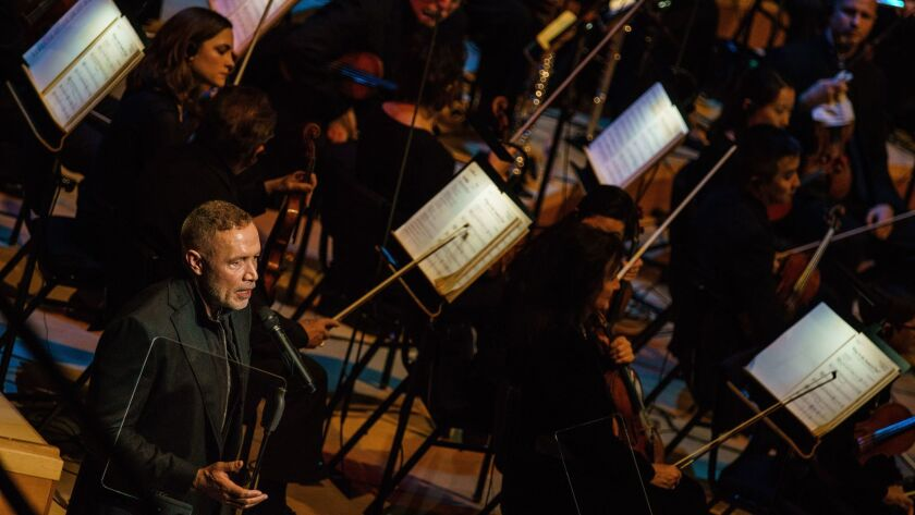 """""""Get Out"""" composer Michael Abels presents """"The Sound of Fear"""" segment of the Los Angeles Philharmonic's film-themed concert Wednesday, when classic themes and this year's Oscar nominees for best score were performed."""
