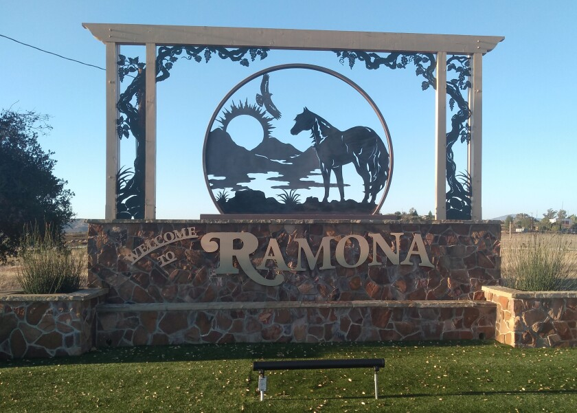 Metal work, lighting and landscaping have recently upgraded the Welcome to Ramona monument sign.
