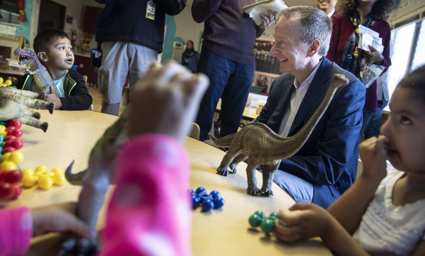 New LAUSD Supt. Austin Beutner talks with children at Cleveland Early Education Center on his first official day on the job in Los Angeles.