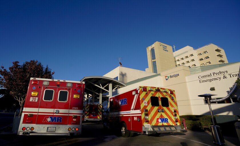 As many as nine ambulances line up at one time to the ER at Scripps Mercy Hospital in Hillcrest.