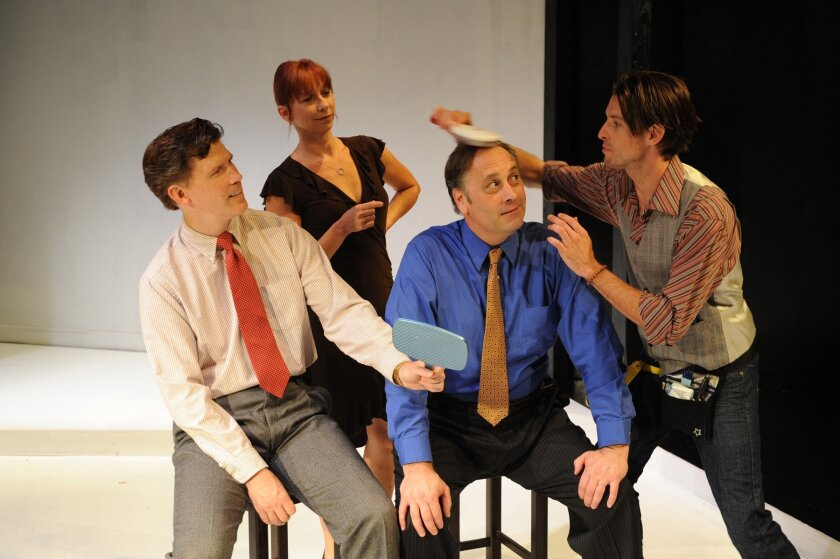 """Charles Maze, Julie Anderson Sachs, John Anderson and Justin Lang (left to right) in Michele Riml's """"Poster Boys."""""""