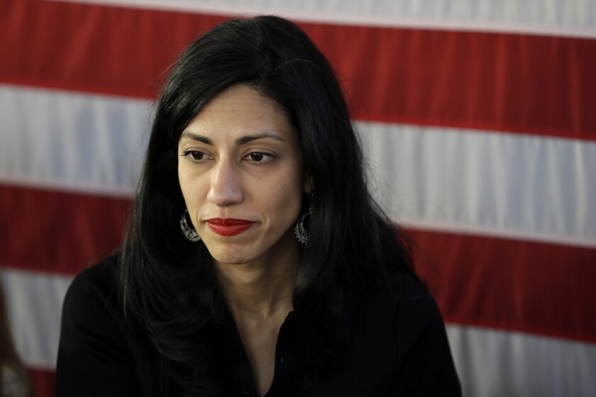 Huma Abedin, aide to Democratic presidential candidate Hillary Clinton, attends a rally in Staten Island, N.Y., on April 17.