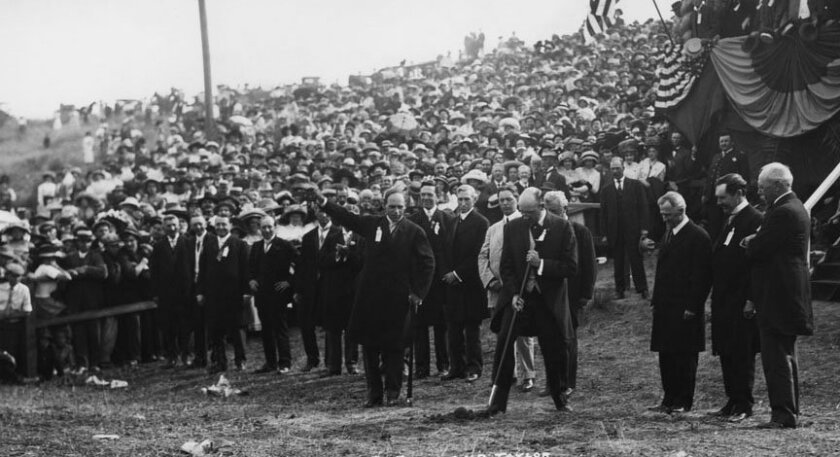 The groundbreaking in Balboa Park for the construction for the 1915 Panama-California Exposition, Circa 1911.