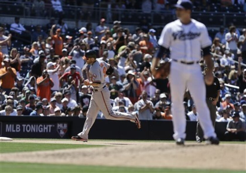Baltimore Orioles' Chris Davis, back left, rounds the bases with a home run as San Diego Padres relief pitcher Colt Hynes, front right, stands on the mound in the eighth inning of a baseball game in San Diego, Wednesday, Aug. 7, 2013. (AP Photo/Lenny Ignelzi)