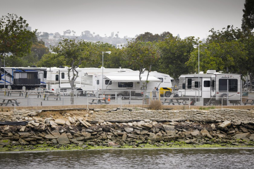 Part of Mission Bay RV Resort as seen from Campland on the Bay in 2019
