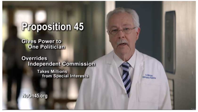 """A """"No on 45"""" TV ad. What are the chances you're getting the whole story from this commercial? Nil."""