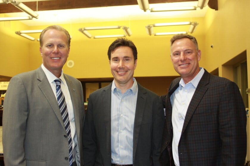 San Diego Mayor Kevin Faulconer, La Jolla Library branch manager Shaun Briley and Congressmember Scott Peters