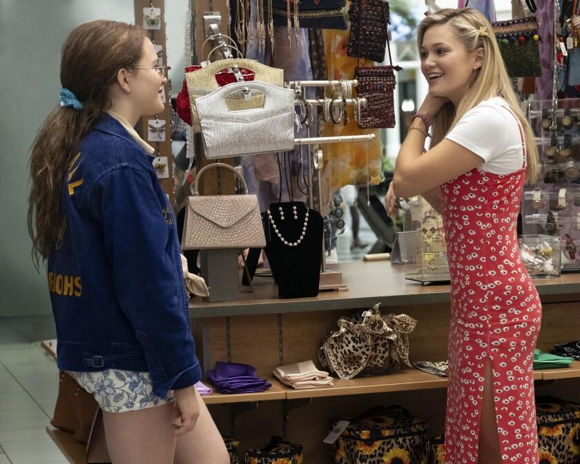 "Actors Chiara Aurelia, left, and Olivia Holt in a scene from Freeform's new drama ""Cruel Summer."""