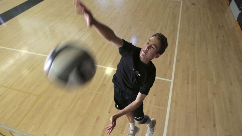 Westview High School volleyball player Slater Bird. photo by Bill Wechter