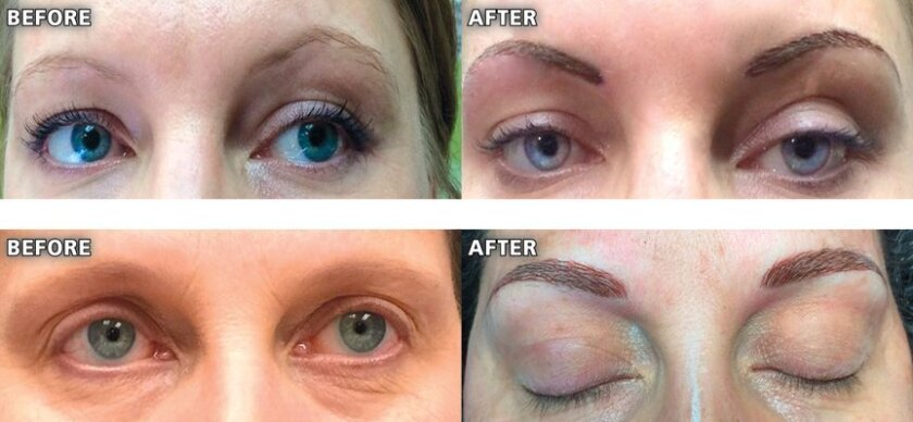 Samples of eyebrows before-and-after permanent makeup by The Artist's Touch, located at 5726 La Jolla Blvd., Suite 120, in La Jolla.