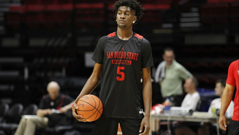 SDSU's Jalen McDaniels (5) will host his younger brother, Jaden, on a recruiting visit this weekend.