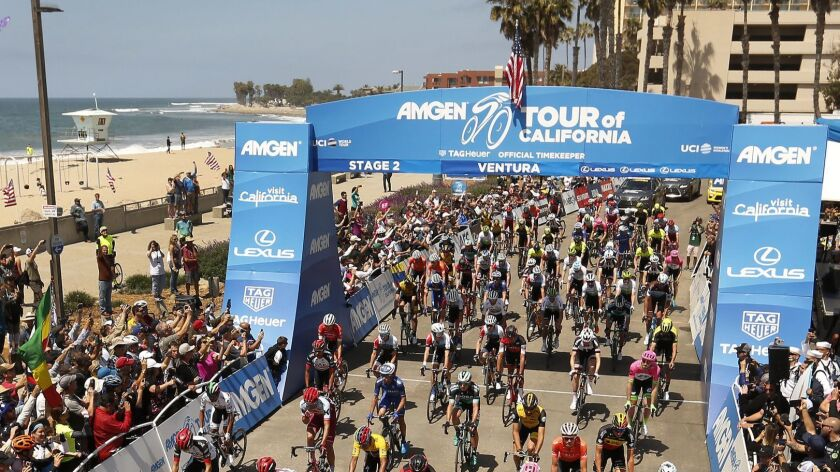 VENTURA, CA – May 14, 2018: Nearly 117 riders begin the Stage 2 of the 2018 Amgen Tour of Califor