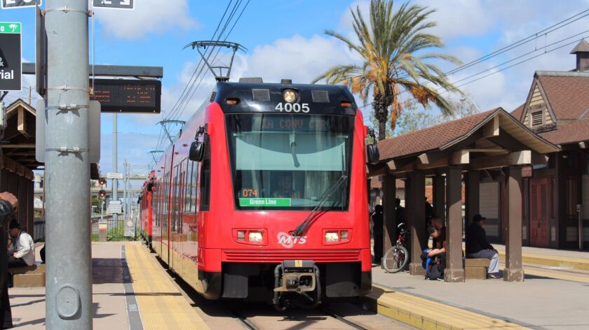 SAN DIEGO, CA - For Tr Carless San Diego - San Diego's Green Line trolley stops just outside Old Tow