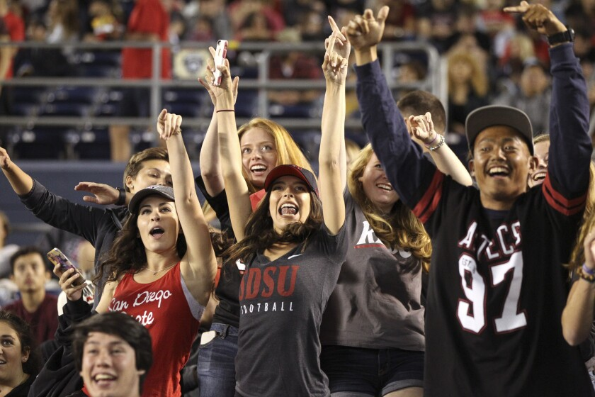 San Diego State fans cheer during an SDSU football game at SDCCU Stadium.