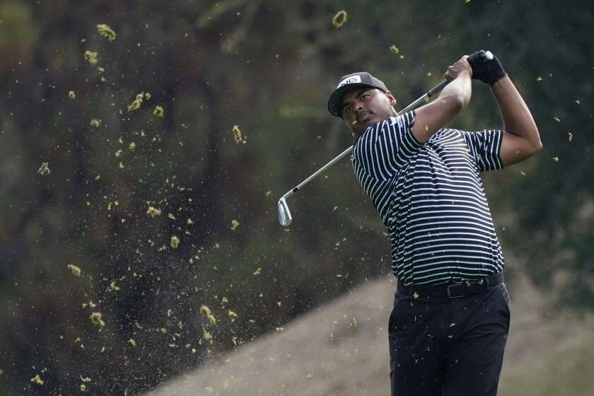 Sebastian Munoz hits from the 18th fairway during the first round of the Zozo Championship.