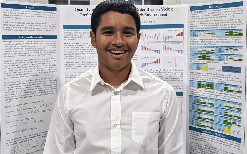 Agastya Sridharan was among 30 finalists in the 2020 Broadcom Masters STEM competition.