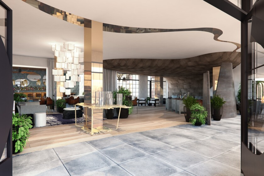 The entrance to La Peer Hotel in West Hollywood (artist's rendering).