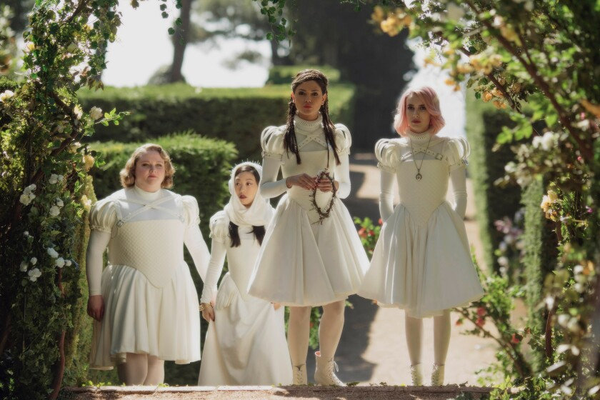 Danielle Macdonald, Awkwafina, Eiza Gonzalez and Emma Roberts in 'Paradise Hills'