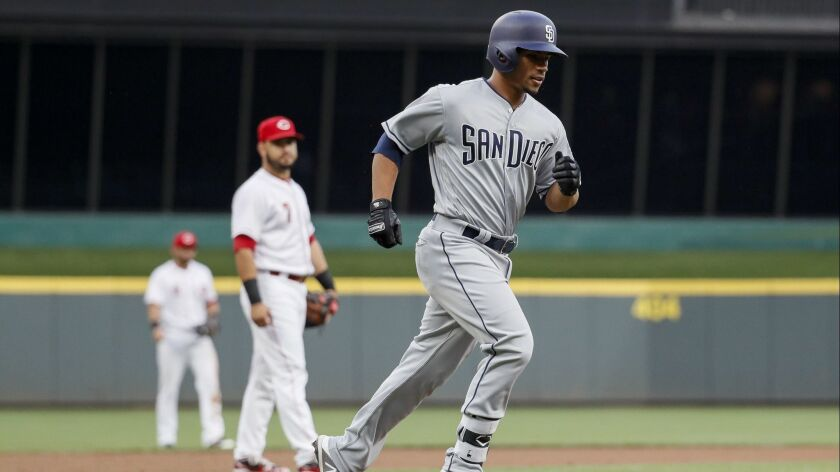Francisco Mejia rounds the bases after hitting his first major league home run in the third inning Thursday in Cincinnati.