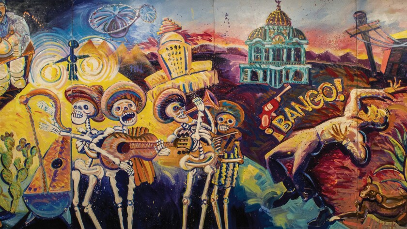 A detail from Frank Romero's '¡Méjico, Mexico!,' 1984