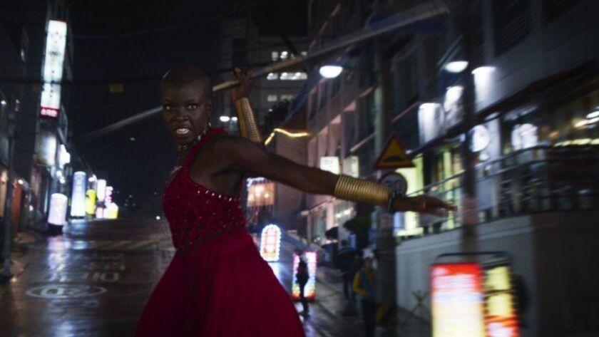 "Okoye (Danai Gurira) in a scene from Marvel's ""Black Panther."""