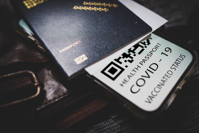 A mock-up of a vaccine passport