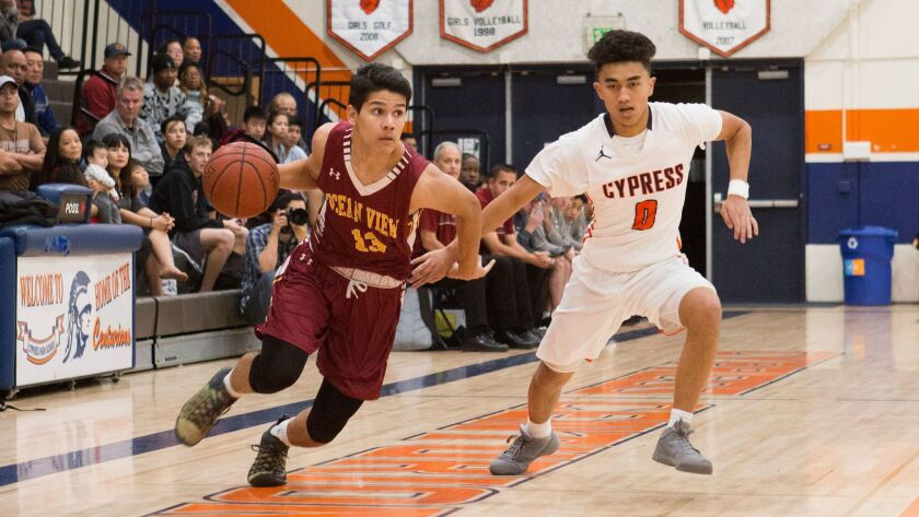 Ocean View's Paul Head, who scored 15 points, dribbles past Cypress' defense during Saturday night.